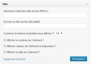 Le paramétrage du widget flux Rss WordPress