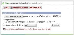 Choisir le fichier de sauvegarde de votre base de données dans PHPmyadmin